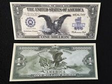 $1000000 One Million Dollar Bills Eagle Play Money Novelty + Plastic Display