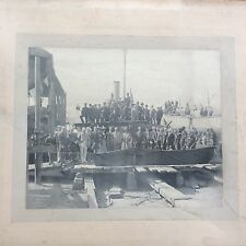 Antique Shipping Photo Launching Ceremony Steamship Steam Boat Steamboat c1900