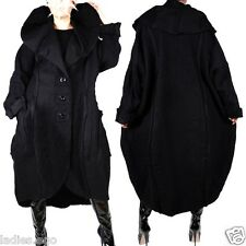 WOLLE MANTEL TRENCH COAT LAGENLOOK WINTER ÜBERGANG SCHWARZ 54 XXL SWINGER WEIT