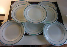 "Vintage Corning Decor Dinner Ware Milk Glass 9"" Plates Aqua Band Set Of 8 -CA194"