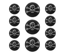 11 pc Jolly Roger Skull Metal Blazer Jacket Coat Button Set Silver / Black Color