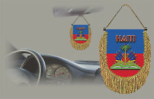 HAITI REAR VIEW MIRROR WORLD FLAG CAR BANNER PENNANT