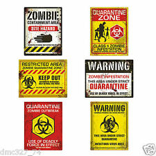 6 HALLOWEEN Party Prop Decoration ZOMBIE Walking Dead Cutouts WARNING SIGNS Sign