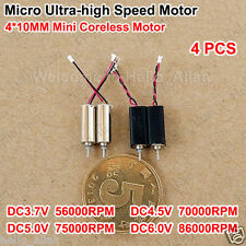 4PCS Mini Coreless DC Motor 4x10mm DC3.7V-6V 86000RPM Ultrahigh High Speed Motor