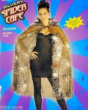 CAPE Sheer with Shiny Silvery Spider Webs Pattern Adult Fancy Dress Costume