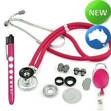 Quality Stethoscope Sprague Style+Neuro Penlight+Retractable ID Clip- Rose Pink