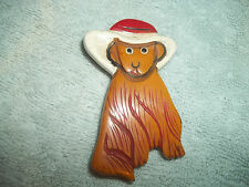 Large Vintage BAKELITE Brooch Pin  Butterscotch With Painted Hat! CUTE!!!