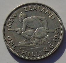 New Zealand Silver Shilling George V, Crouched Maouri Warrior, KM #3
