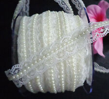 3/4 Inch wide Lace / Pearl Center Ribbon  ivory color selling by the yard