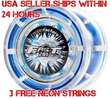 F.A.S.T. 201 YoYo Clear Blue YoYo Factory Plus 3 Extra Neon Strings YELL/ORG/GRN
