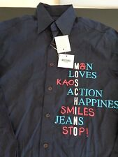 MOSCHINO Jeans NEW Men's Button Front SMALL Shirt Man Loves Kaos FREE SHIP Blue