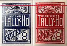 Tally-Ho Blue & Red Fan Back 2 Deck Set Playing Card Poker Size USPCC Linoid #9