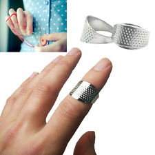 2 Pcs Tailors Quilting Alloy Sewing Thimble Ring Finger Protector Silver Tone