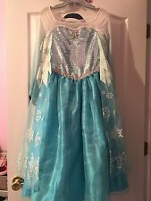 Disney Store Authentic Original Design Elsa Frozen Gown Dress Size 9 10 GUC