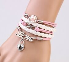 NEW Infinity Love Heart Lock Friendship Antique Silver Leather Charm Bracelet !!