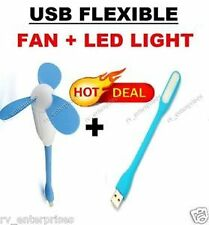 Mini Portable & Flexible USB Fan + LED Light Lamp For Laptop/ Desktop/ Powerbank