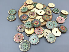 DIY 50X Mixed Retro Round Wooden buttons sewing scrapbook decoration 2 hole 20mm