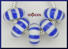 5 Blue White Stripe Single Core Bead Fit European Jewelry 8 * 13 & 5mm Hole B035