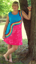 S M L XL 2XL 3XL Tie Dye Dress- Adult and Plus Size- Rainbow Squiggle