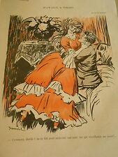 Voyage à Trois dessin de Jeanniot Print Art Déco 1907