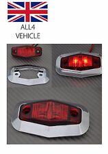 4 X 24V 2 SMD LED ROUGE FEUX DE POSITION AMOVIBLE CADRE CHROMÉ CAMION REMORQUE