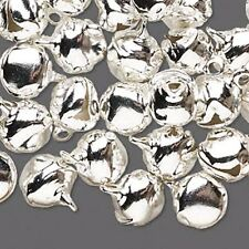Jingle Bells Christmas Holiday Craft Jewelry 10mm Shiny Silver Lot of 100