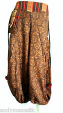 Womens Ladies Handmade Gypsy Hippie Boho Harem Hmong Pants / Trousers / Brown