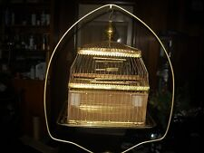 vintage antique hendryx brass bird cage with ornate cast iron stand