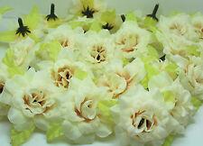 beige 10pcs artificial Silk Flower rose flower head DIY wedding supplies