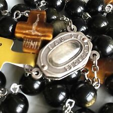 GOLD Black Obsidian Tiger Eye Father Beads Lourdes medal ROSARY CROSS NECKLACE
