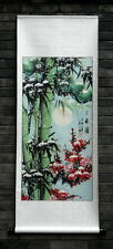 "Chinese wall scroll painting bamboo plum blossom pine tree snow 21x54"" ink art"