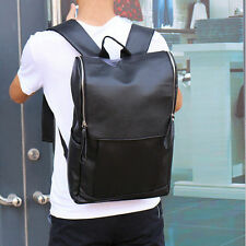 Black Men's Leather Messenger Backpack Laptop Bag Shoulder School Bags