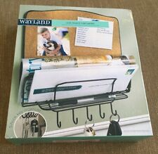 WAYLAND SQUARE-Wall Mount Cork Board Mail Center-Metal Organizer- NEW in box