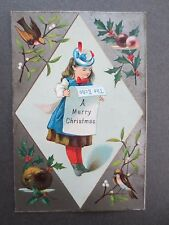 ANTIQUE CHRISTMAS Greetings Card Little Girl Newspaper Holly Victorian Chromo