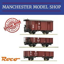 Roco HOe / 009 1:87 3 piece narrow gauge DR freight train Wagenset 3-teillig NEW