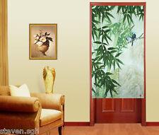 Bedroom Japanese Noren Spring Green Bamboo and Singing Birds Door Curtain D-1336