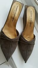 ROBERT CLERGERIE BROWN LEATHER QUIRKY  WEDGE POINTY TOE MULES SANDALS UK 3-3.5