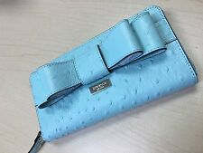 BRAND NEW KATE SPADE NEDA CHARM CITY OSTRICH ROBINSEGG ZIP AROUND WOMEN'S WALLET