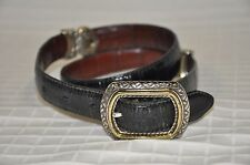 GUC Women's BRIGHTON Belt Black or Brown Leather reversible Size 30 /Medium croc
