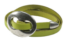 Lime Green Leather Triple Wrap Bracelet with Buckle
