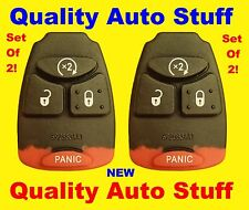 NEW Lot 2X Set of 2 Remote Head Key Rubber Button Pad With Remote Start 4 Button