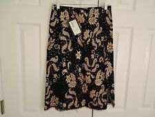 NEW WITH TAGS ST. JOHN Evening Black and Gold Sequined Skirt Womens Size 8