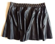 Hearts & Bows Faux Leather Black Studded Skater Mini Skirt Size 12
