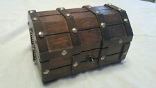 VINTAGE WOOD WOODEN PIRATE TREASURE CHEST JEWELRY BOX NICE SMALL decor