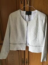 SIZE 14 RIVER ISLAND WHITE/SILVER JACKET TOWIE/XMAS/WINTER NEW WITH TAGS RRP £65