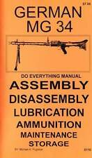 GERMAN MG 34 DO EVERYTHING MANUAL ASSEMBLY DISASSEMBLY MAINTENANCE CARE BOOK NEW