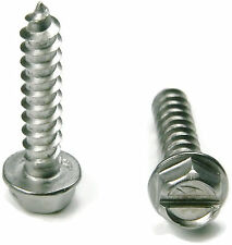Stainless Steel Slotted Hex Indented Head Sheet Metal Screw #6 x 1/4, Qty 100