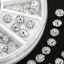 100pcs 4mm Acrylic Studs Nail Art Stickers DIY Tips Rhinestone Decor Wheel W87