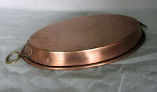 "GAILLARD Magnificent RARE french oval copper pie good tin pan 12""  cuivre"