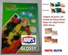 140gsm 20 packs x 20 Sheets A4 Glossy Photo Paper For Inkjet Printer 100% Glossy